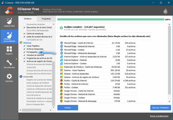 La nueva versión de CCleaner limpia el historial del portapapeles de Windows 10