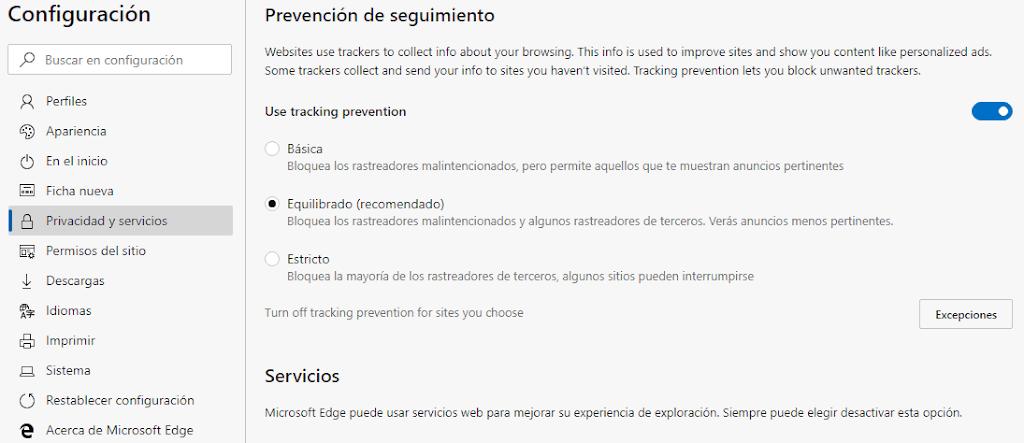 La función Prevención de seguimiento ahora se encuentra habilitada de forma predeterminada en el nuevo Microsoft Edge