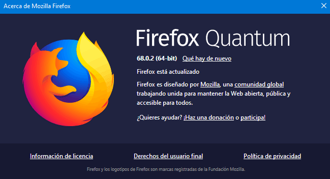 Información de la versión de Firefox 68.0.2
