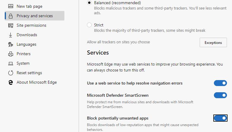 Microsoft Chromium Edge obtiene protección de aplicaciones potencialmente no deseadas
