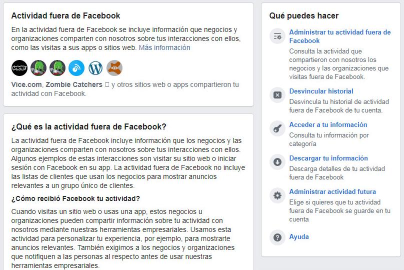 Actividad fuera de Facebook