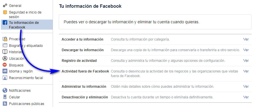 Tu información de Facebook
