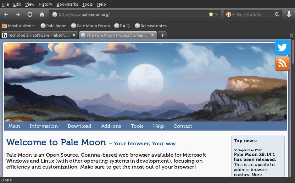 Nueva versión del navegador web Pale Moon 28.14.1. Cómo instalar en Ubuntu