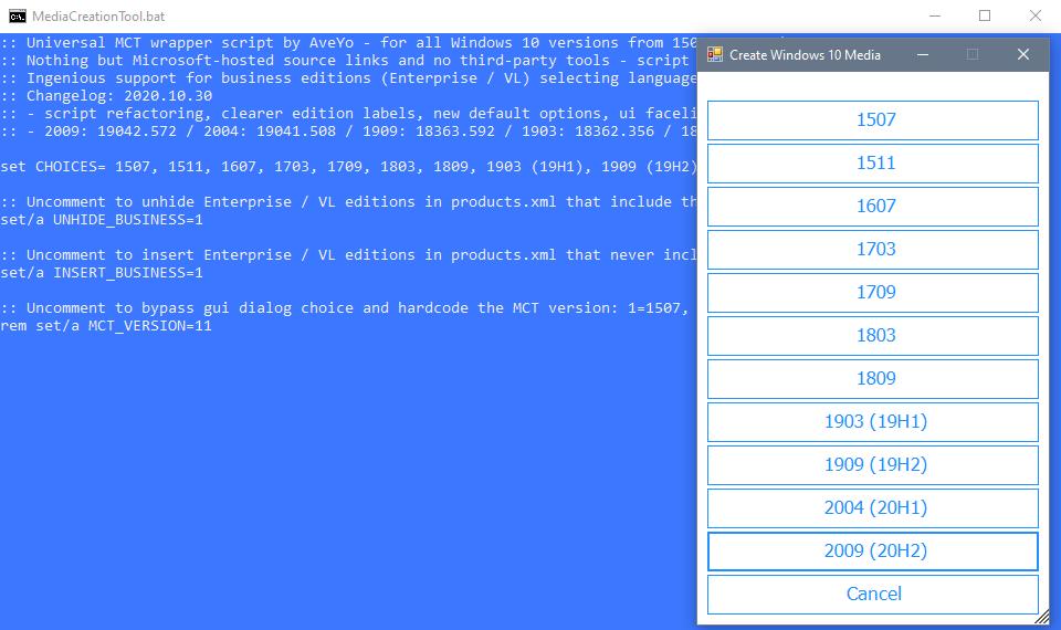 MediaCreationTool (bat): descargue cualquier versión de Windows 10 en ISO desde Microsoft