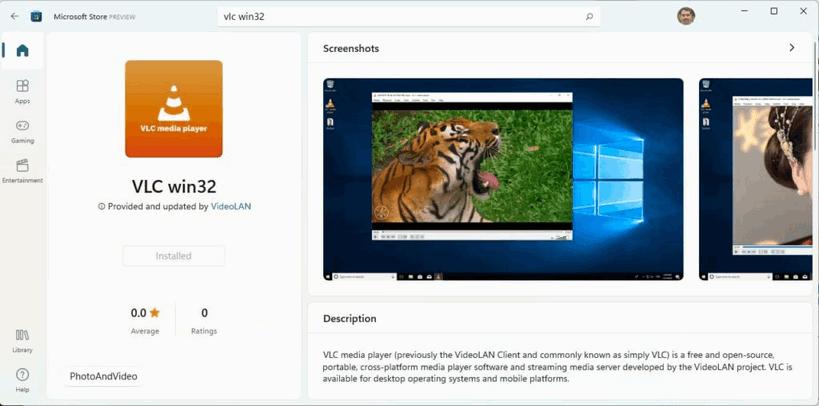La aplicación VLC Win32 hace una entrada en la Microsoft Store de Windows 11