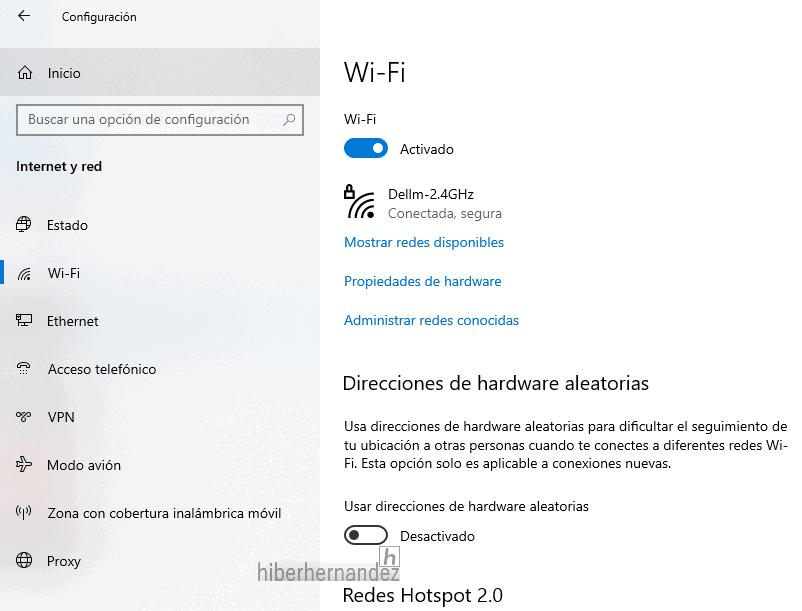 Cómo habilitar o deshabilitar la dirección MAC aleatoria en Windows 10 para el adaptador Wi-Fi